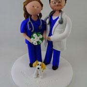 Tortenfigur Brautpaar Arzt und Krankenschwester
