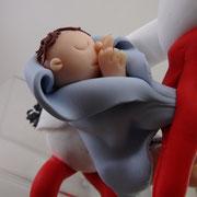 Tortenfigur Storch mit Baby