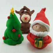 3er Gruppe Weihnachtswichtel, Elch und Tannenbaum