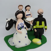 Tortenfigur Brautpaar mit Kindern auf Pferd