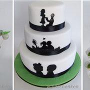 Hochzeitstorte Scherenschnitt, Cupcakes und Cakepops