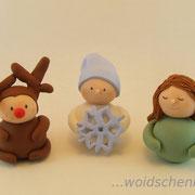 Weihnachtsfiguren Elch, Schneeflocke und Engel