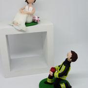 Tortenfigur Brautpaar Feuerwehrmann getrennt
