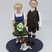 Tortenfigur Brautpaar in Tracht