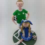 Tortenfigur Brautpaar Fußballer und Gardetänzerin