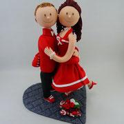 Tortenfigur Brautpaar Rockabilly