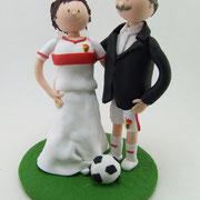 Tortenfiguren Fußballbrautpaar