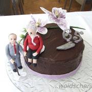 Torte zur Eisernen Hochzeit mit Orchideen