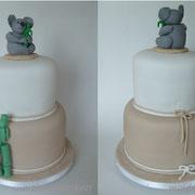 Geburtstagstorte 2-stöckig mit Tortenfigur Koalabär