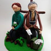 Tortenfiguren Paar auf dem Berggipfel