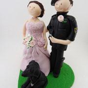 Tortenfigur Brautpaar Soldat mit Hund