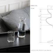 Carafe et verre à vin / Agathe Rouy-Copier / verre soufllé au chalumeau - Strate Collège