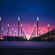 LUNUX GmbH, Mastaufsatzleuchten Messebrücke Hannover, ATHEX PMMA Rohre