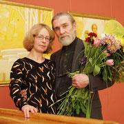 На открытии персональной выставки в Даугавпилсском городском театре, 15 апреля 2011.