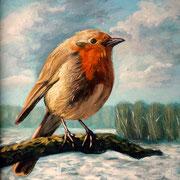 Roodborstje, Acrylverf op paneel, 20cm x 20cm, 2011. Verkocht.