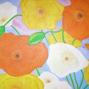 Gelbe Mohnblumen. Acryl auf Leinwand 100 x 90 cm
