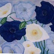 Blaue Mohnblumen. Acryl auf Leinwand 100 x 90 cm