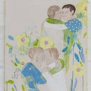 Tango Mariposa, 90 cm x 100 cm, Mischtechnik auf Nessel, 1.222 €
