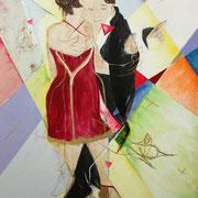 Tangodreieck, 120 cm x 100 cm, Mischtechnik auf Nessel, 1.555 €