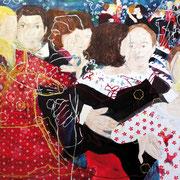 Tanz der Herzen, 110 cm x 95 cm, Mischtechnik auf Nessel, 1.555 €