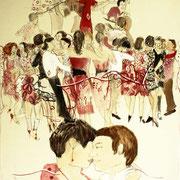 Tango Concierto, 80 cm x 50 cm, Mischtechnik auf Nessel, 555 €