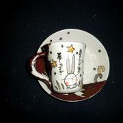 コーヒー碗皿 兎