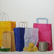 Bolsas. Óleo/ lienzo ( 100 x 100 cm ) 2005