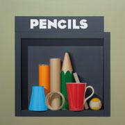 Pencils II. Óleo/ lienzo ( 81 x 81 cm ) 2016