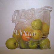 Mango manzanas. Óleo/ lienzo ( 100 x 100 cm ) 2005