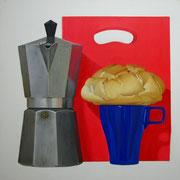 Desayuno. Óleo/ lienzo ( 81 x 81 cm ) 2006