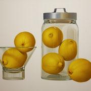 Ocho limones. Óleo/ lienzo ( 60 x 100 cm ) 2009