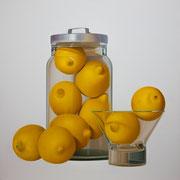 Nine lemons. Óleo/ lienzo. (81x81 cm) 2015
