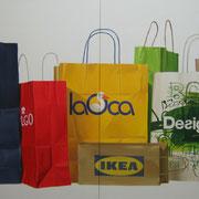 Shopping bags. Óleo/ lienzo ( 100 x 200 cm ) Diptico. 2005