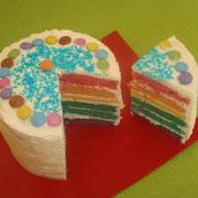 Rainbow cake (arc-en-ciel) à la chantilly ou au chocolat
