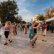 Tangoatmosphäre auf dem Platz in Rovinji