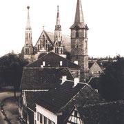 Sicht von Böhlgasse auf Kirche, vor Umbau