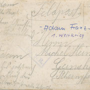 Feldpost Franz Adam an Michel Heintz