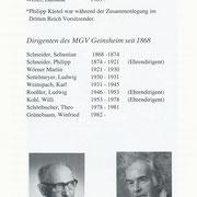 Die Vorsitzenden und Dirigenten des MGV seit 1868