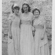 Ehrendamen beim 160jährigen Jubiläum 1951; Katharina Seithel, Hildegunde Sprißler, Resel Nebel