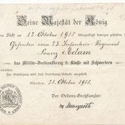 Franz Adam: Militär-Verdienstkreuz 3. Klasse mit Schwertern