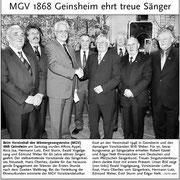 Sängerehrung des MGV