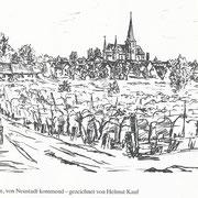 Ortsansicht von Geinsheim, gezeichnet von Helmut Kauf, Gestalter der Festschrift
