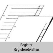 Register und Registeretiketten