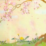 フリー素材・和風・貼り絵・桜・たんぽぽ