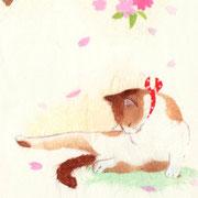 フリー素材・和風・貼り絵・猫