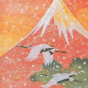 フリー素材・和風・貼り絵・富士・鶴