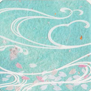 フリー素材・和風・貼り絵・桜水紋