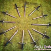 Set miniature di spade in ferro battuto