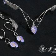 Corona e orecchini elfici viola e argento