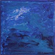 #63, Blue Mystery II, Mischtechnik auf Leinwand, 15 x 15